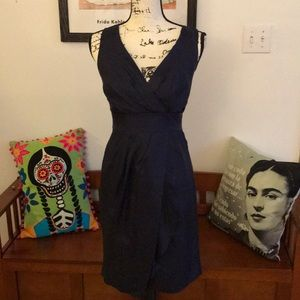 Size 0 Banana Republic royal blue silk drape dress